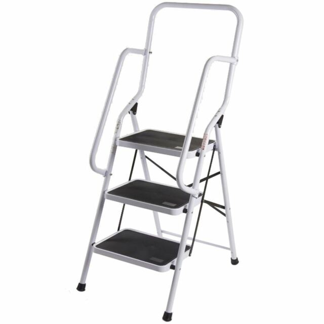Magnificent Stepladder Foldable Non Slip 3 4 Step Steel Tread Safety Handrail Rail Ladder Alphanode Cool Chair Designs And Ideas Alphanodeonline