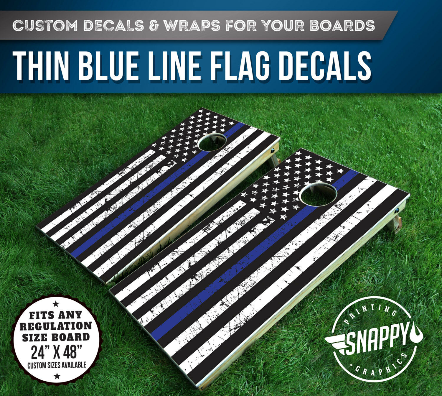 Thin bluee Line American Flag  Distressed Look Cornhole Decal - Bags  -Vinyl Decal  buy cheap new
