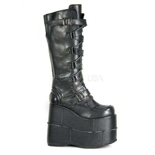 Demonia STACK-308 Vegan Boots Black Vegan Leather Punk Knee High Platforms