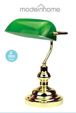 "Modern Home 15"" Classic Bankers Table Desk Office Light Lamp in Brass & Green"