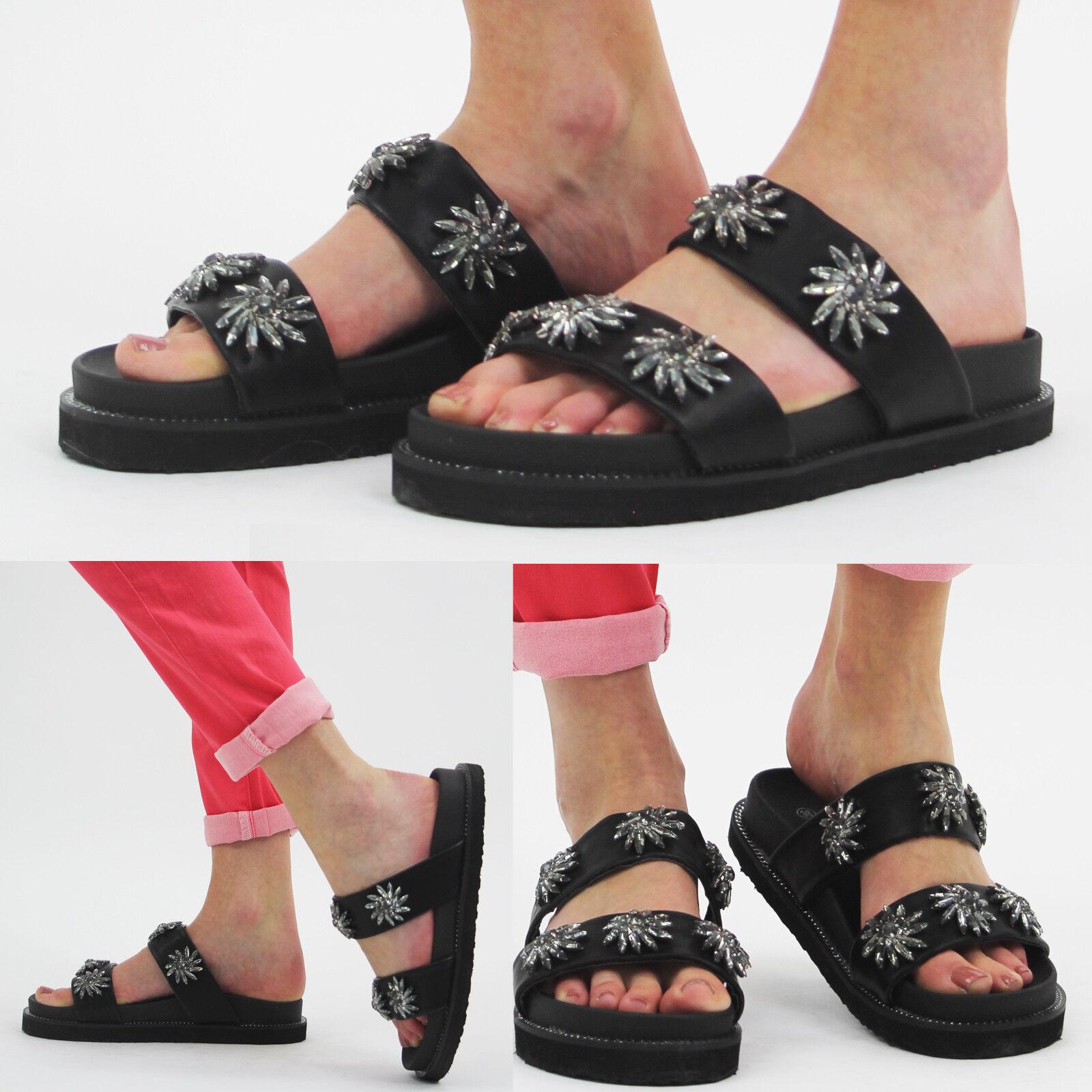 Ladies Womens Flats Slip Summer Sandals Mule Flowery Details Sliders Slip Flats On Shoes 47da57