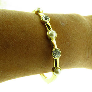 Crystal-and-Pearl-Bangle-Bracelet-Hinged-Gold-Tone-NWT