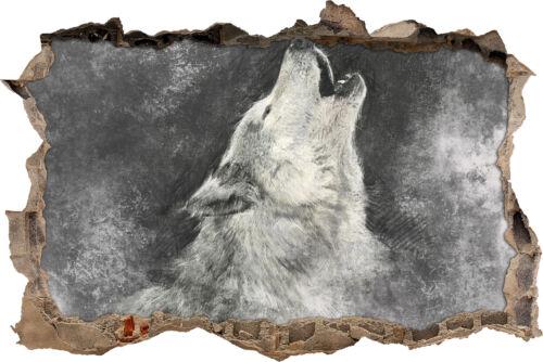 Wolf pleure sur la Lune-percée dans 3d-Look décoration tapisserie