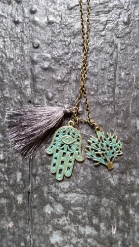 Cadena mano y borla Antik bronce joyas señora hippie steampunk festival Boh