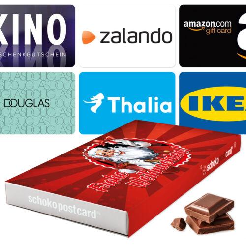 schokopostcard 11 Weihnachten Geschenkset /& Gutscheine von Amazon bis Zalando