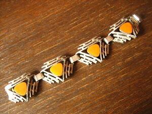 starkes-Vintage-Designer-Armband-Emaille-gelb-original-70er-Jahre-Skandinavien