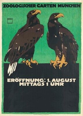 Munich LUDWIG HOHLWEIN German Travel Zoo Poster 1912 Zoologischer Garten