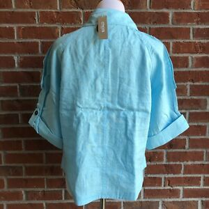 NWT! CHICO'S Cropped Linen Trench Jacket - Chico's Size 1 (8)
