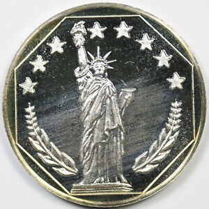 Statue Of Liberty Siltex Inc 999 Fine Silver Round 1 Troy Oz Ebay