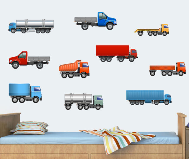 Childrens camions-Pack de 10 wall stickers-Voitures Camion Vans véhicules stickers