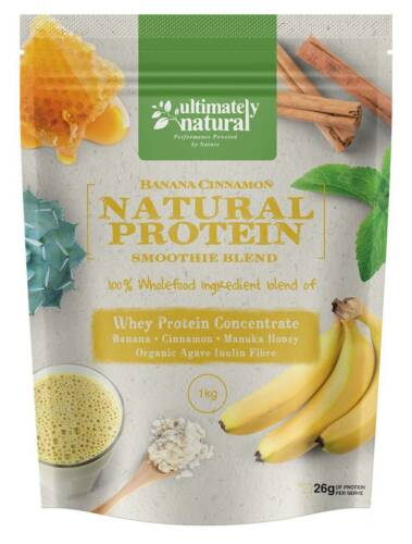 100% Natural Whey Protein Powder Shake Gluten Free Banana Cinnamon Fruit Blend