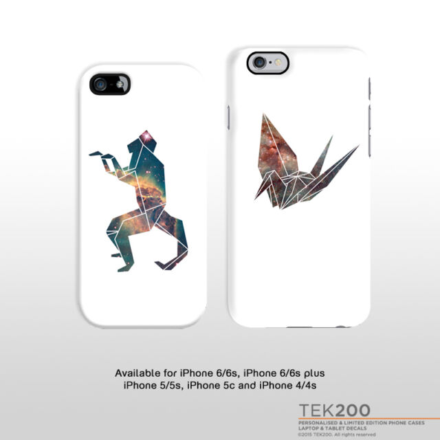 iPhone 7 origami case. Monkey crane iPhone cover space nebula FP045