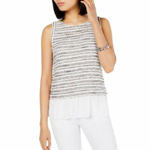 INC NEW Women/'s White Striped Knit Layered-look Combo Blouse Shirt Top XL TEDO