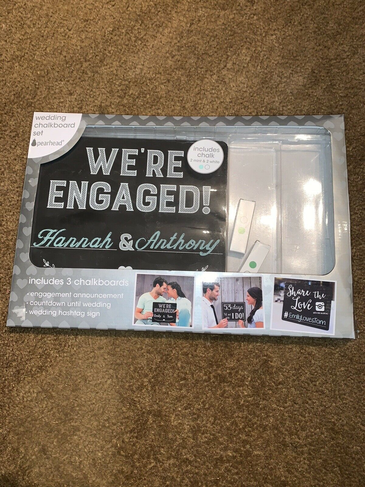 Pearhead Wedding Countdown Chalkboard Sign Set Perfect Photo Sharing Prop for Your Engagement Announcement