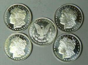 1-2-oz-999-Fine-Silver-Rounds-Lot-of-5-Morgan-Dollar-Design-Rounds-m-rm-tb