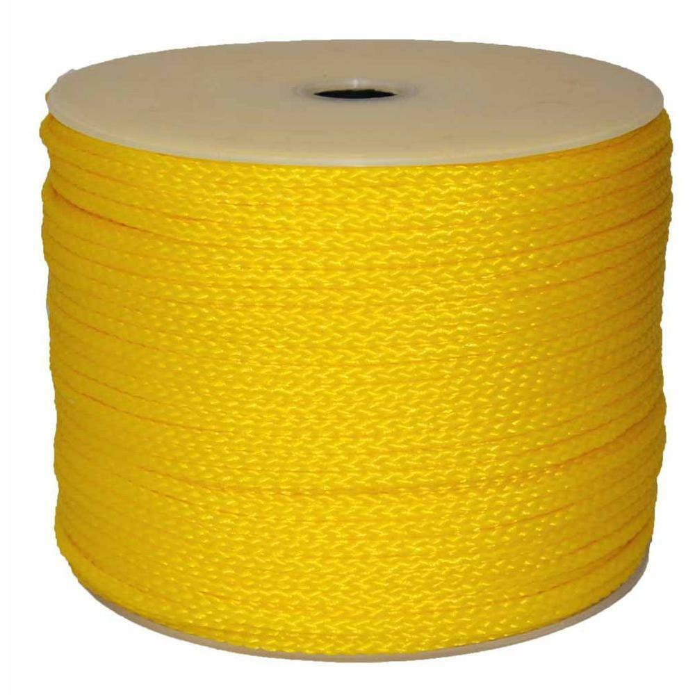 Hollow Braid Polypro Rope 1 4 Inch x 1000 Feet Yellow Floating Non-Wire String