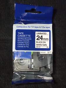 "1 COMPATIBLE TZe-251 BLACK PRINT ON WHITE TAPE 1""X 26' 8M TZE251 LABEL BROTHER"