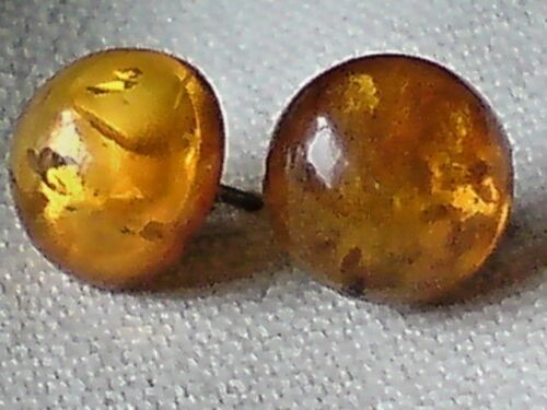 STUD EARRINGS with AMBER CABOCHON STONES £12.50  NWT STERLING SILVER 10mm