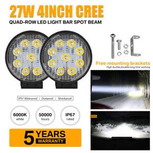 """4 """"27W LED Arbeitsscheinwerfer Bar Spot Offroad ATV Nebelscheinwerfer4WD"""