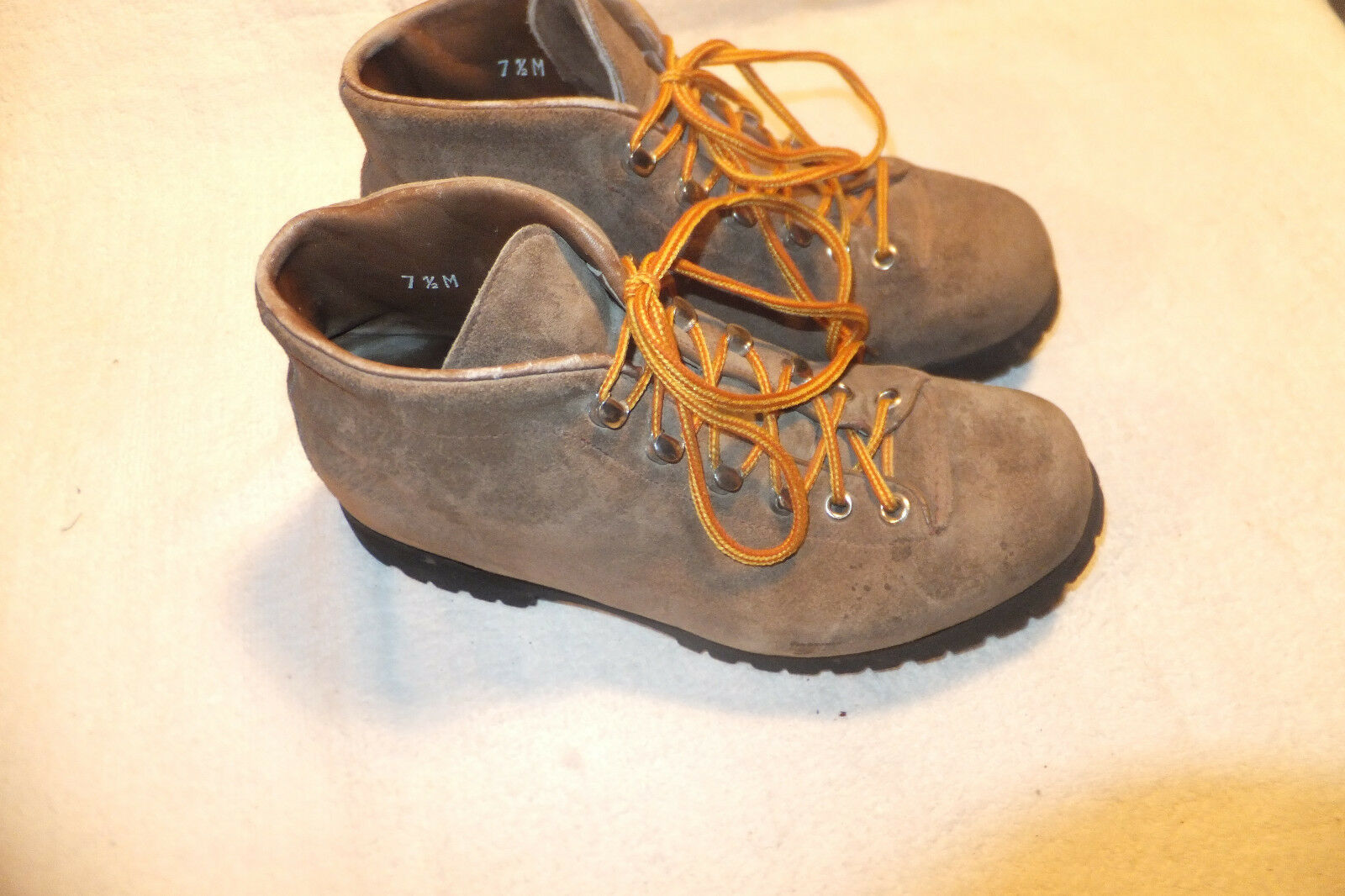 The Alps By Fabiano Tan Suede Hiking Boots Sz 7.5M Made In Italy