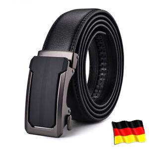 Neue Herren Gürtel Automatik Schnalle Herrengürtel Ratchet Echtes Leder Jeans