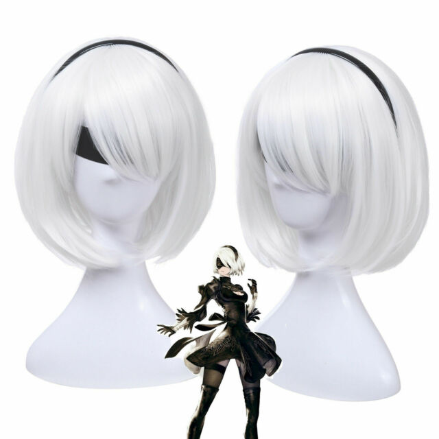 2 Type B Wig Short Silver White Hair+Cap For Cosplay NieR:Automata 2B YoRHa No