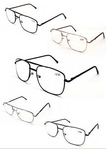 L17-Classic-Double-Bridge-Metal-Spectacle-Reading-Glasses-Spring-Hinge-Easy-Read
