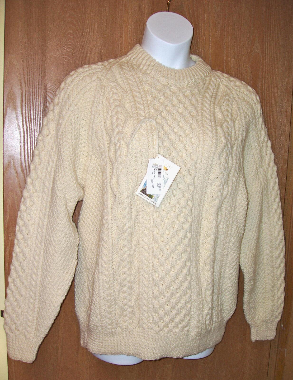 BLARNEY 100% Woollen Mills Ladies LG LG LG  Mens MED Fisherman Sweater Never Worn 3286a2