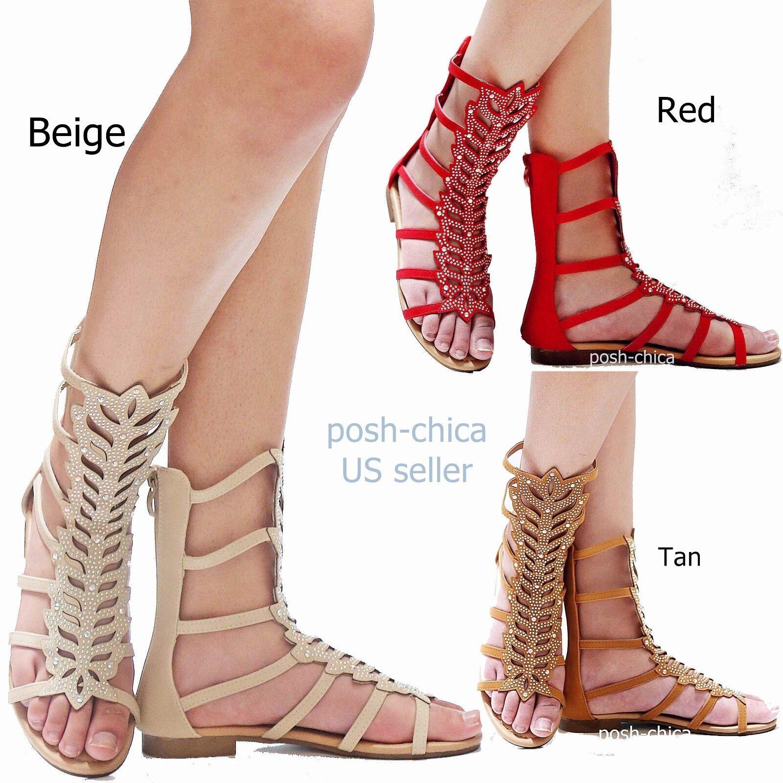 New Women Fa12 Red Tan Roman Beige Rhinestone Mid Calf Roman Tan Gladiator Flat Sandals bc4105