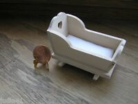 Miniature Dollhouse Classics Unfinished Baby Cradle W/ Pad 665