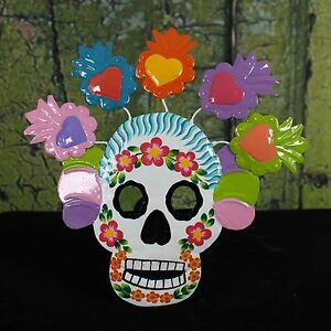 Day of the Dead Wall Ornament Sugar Skull Muertos Hand Painted Mexican Folk Art