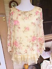 SUNDANCE BUTTER YELLOW SILK BLOUSE PINK/PEACH ROSES FLORAL TUNIC TOP RUFFLE S/M