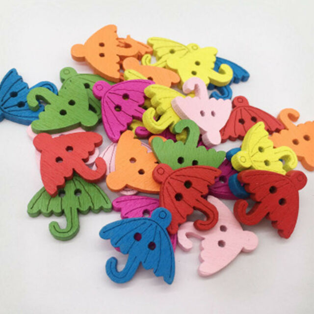 100Pcs Umbrella Design Buttons Sewing Craft Clothes Decor DIY Apparel Sewing