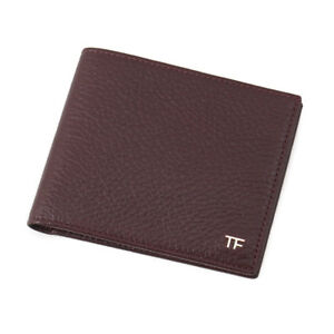 New-390-TOM-FORD-Burgundy-Grained-Leather-Classic-Bifold-Wallet-with-Gold-Logo