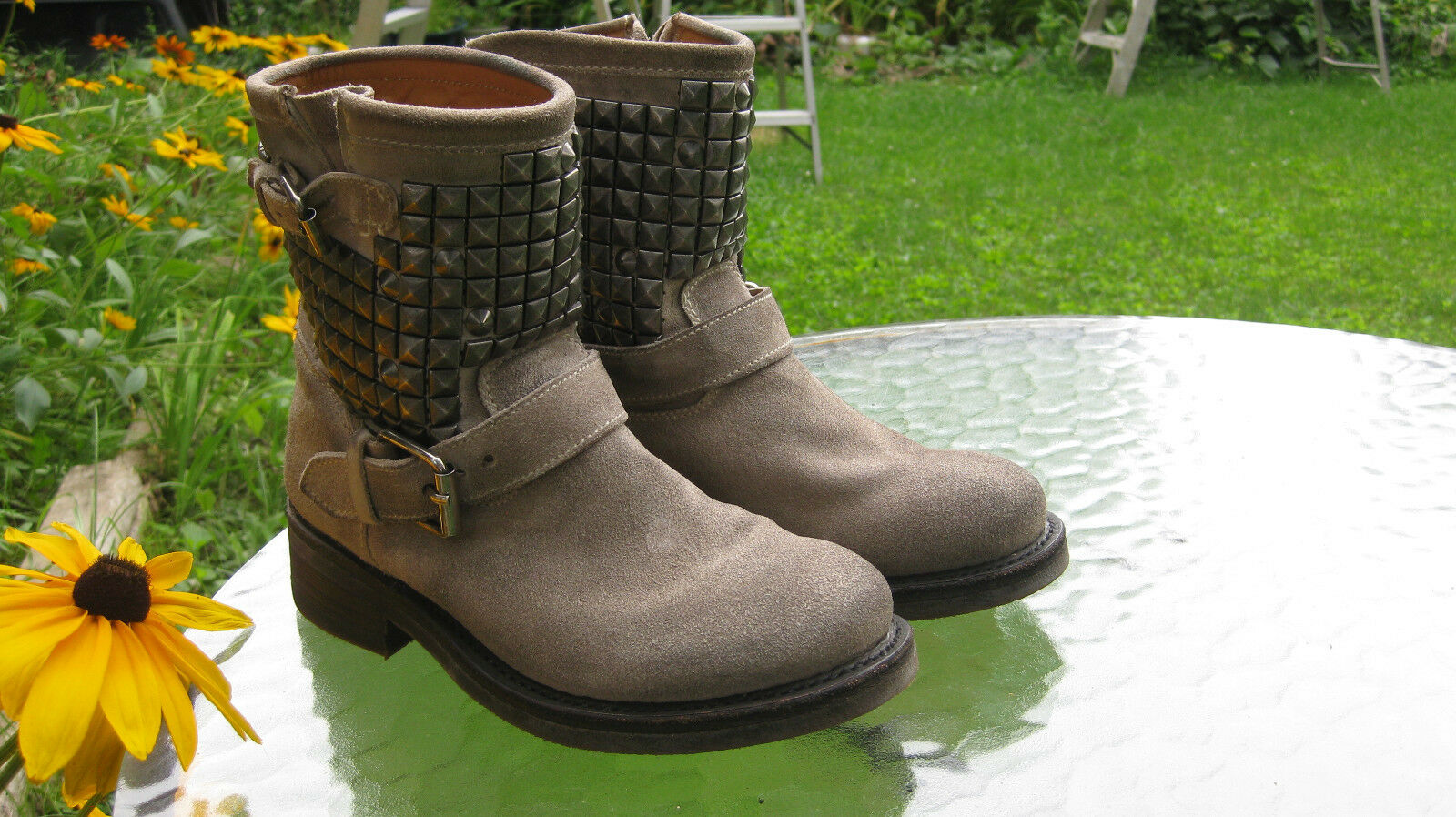 ASH Titan Clay Suede Leather Studded Ankle Biker bottes chaussures EU 36.5  US 6