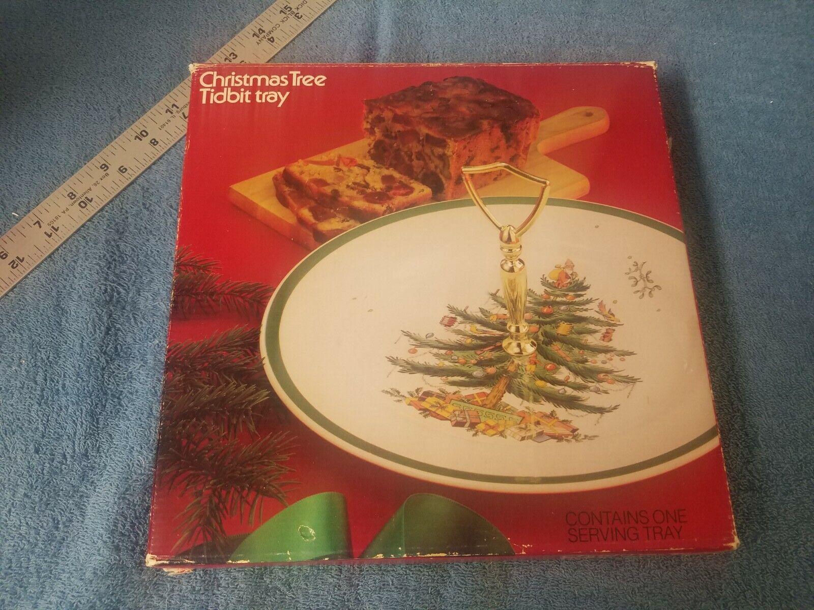 Cake Plate Vintage Spode Christmas Tree Square Serving Platter