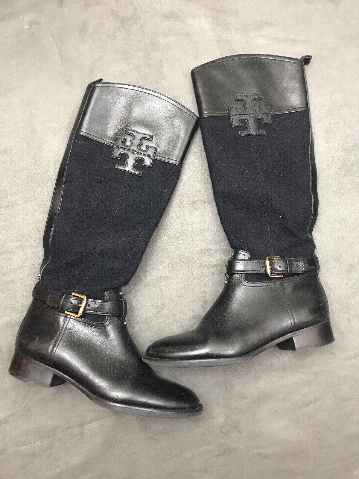 Tory Burch Blaire botas de Montar Franela y Negro de cuero con logotipo A