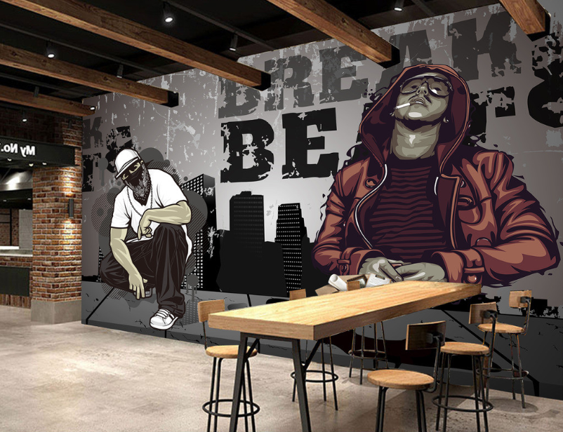 3D Hip Hop Porträtmalerei 8 Tapete Tapeten Mauer Foto Familie Tapete Wandgemälde