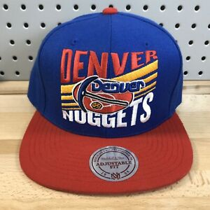 Denver-Nuggets-NBA-Basketball-Mitchell-amp-Ness-HWC-Snap-Back-Hat-EUC-Red-amp-Blue