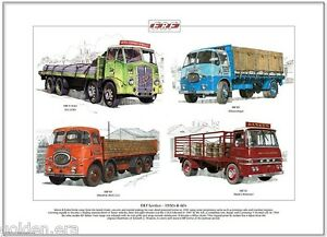 ERF LORRIES 1950s & 60s - Fine Art Print - LV, KV & V-Front trucks illustrated