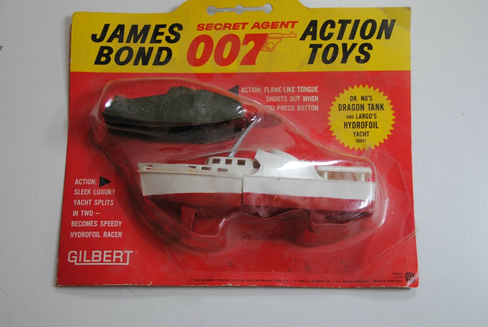 GILBERT 1965 JAMES BOND 'SECRET AGENT' 007  DR NO DRAGON TANK & HYDROFOIL  MOC