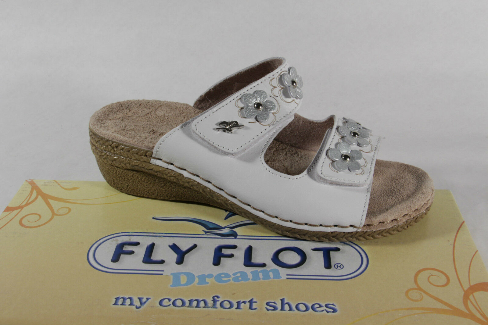 FLY FLOT ladies slippers Slippers House House House shoes Leather White Touch Fastener NEW b4a410