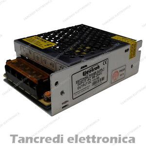 ALIMENTATORE-12V-5A-TRIMMER-SWITCHING-CONTENITORE-METALLICO-GRIGLIATO-60W-LED