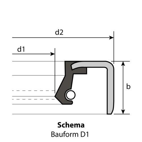 1 Radial-Wellendichtring 45 x 55 x 7 mm D1  NBR 70