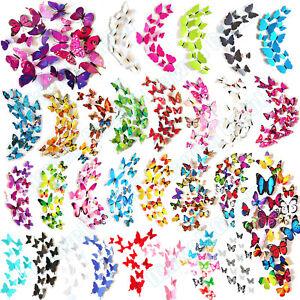 12-Set-3D-Schmetterlinge-Wandtattoo-Wanddeka-Wand-Deko-Wandtatoo-Wandaufkleber