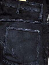 Authentic G-STAR Ultra Slim Motorcycle Zippers Men's Dark Black Jeans Sz 31x32