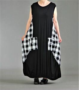 Akh Fashion Ballon Kleid Gr 44 46 48 50 52 Karo Sw Weiss Grosse Taschen Ebay