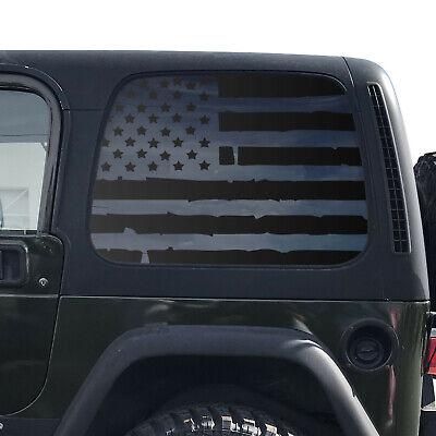 Distressed USA Flag Decals For 1997-2006 Jeep Wrangler TJ 2 Door only Custom Design QR3-TJ1.A Hardtop Windows