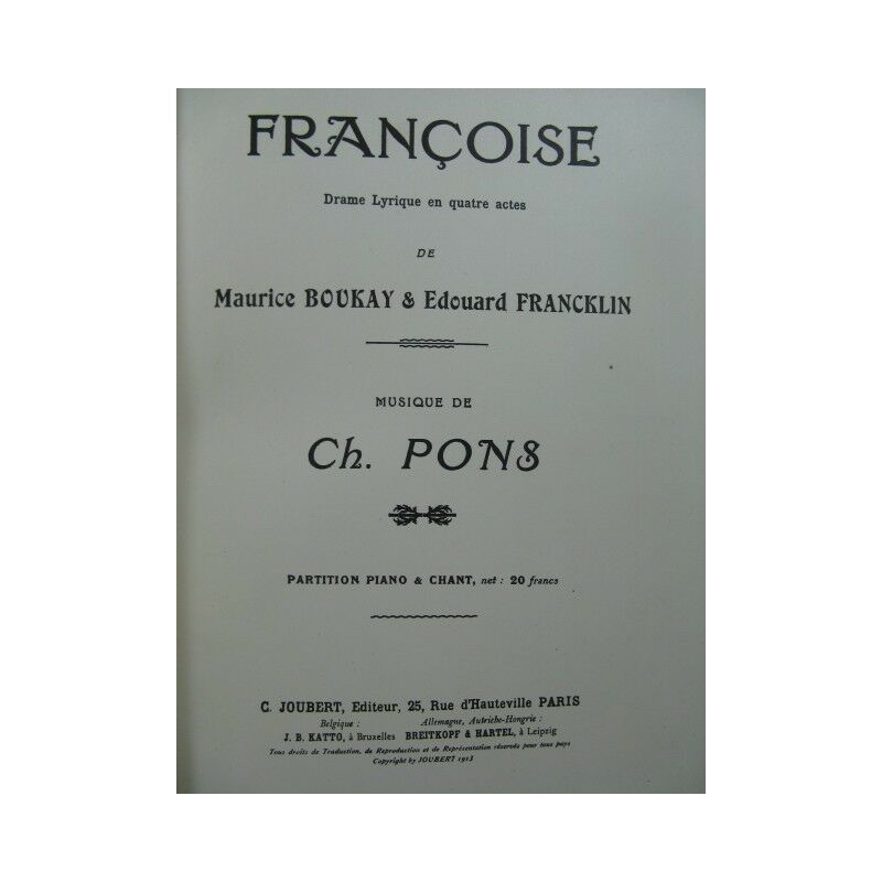 PONS Charles Françoise Lyrisches drama Chant Piano 1913 Partitur sheet music