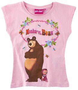 Ninas-Ninos-Oficial-Masha-y-el-oso-Luz-Rosa-Manga-Corta-Camiseta-Top